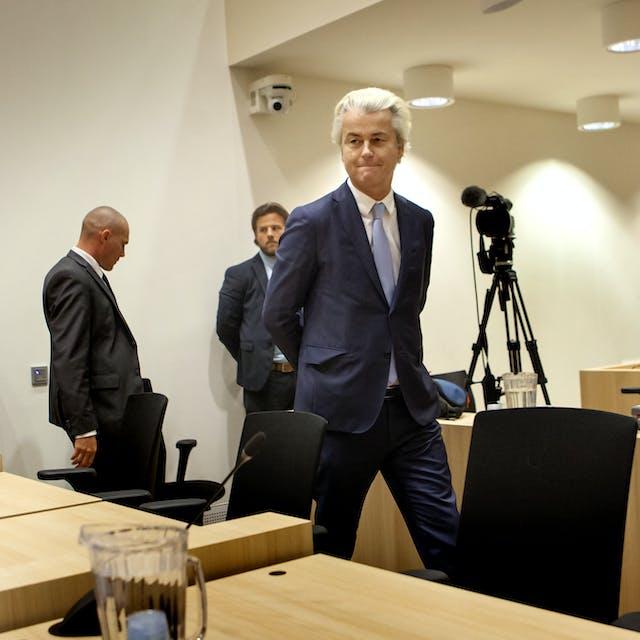 Wilders haalde tijdens het proces, waarin de PVV-leider is veroordeeld wegens het aanzetten tot discriminatie, fel uit naar de Nederlandse rechterlijke macht. foto: HH