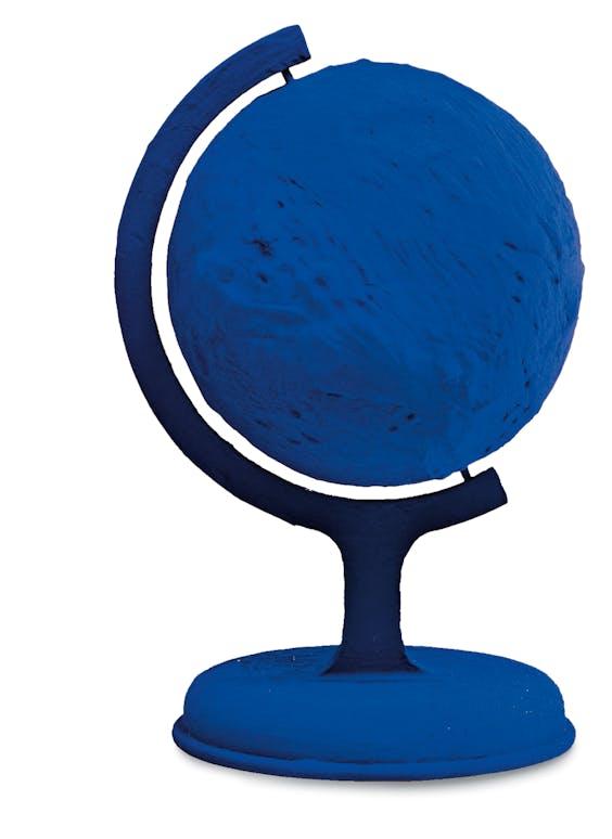 Yves Klein: 'La terre bleue', de blauwe aarde, uit 1957. Vier jaar later bevestigde kosmonaut Joeri Gagarin: 'De aarde is intens blauw!'