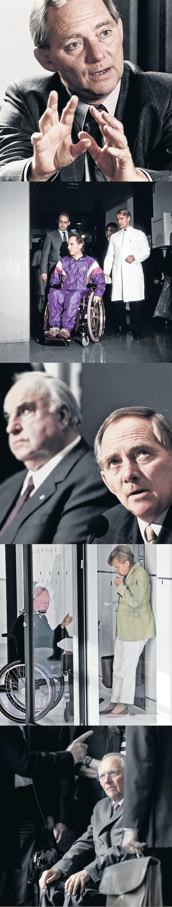 Foto1: 'Wolfgang Schäuble schuwt geen tegenwind en gaat ongemakkelijke situaties niet uit de weg', aldus bondskanselier Angela Merkel. Foto2: In oktober 1990 werd Schäuble neergeschoten tijdens een verkiezings- bijeenkomst. Sindsdien is hij op een rolstoel aangewezen. Foto3: Onder bondskanselier Helmut Kohl, hier op de achtergrond, gold Wolfgang Schäuble jarenlang als diens kroonprins. Foto4: De afgelopen vijf jaar treden Schäuble en Merkel in Europa op als een team, vaak in de rolverdeling 'good cop, bad cop'. Foto5: Tijdens de Griekse crisis dit voorjaar ging Schäuble er hard in, maar uiteindelijk zoekt hij altijd het compromis.