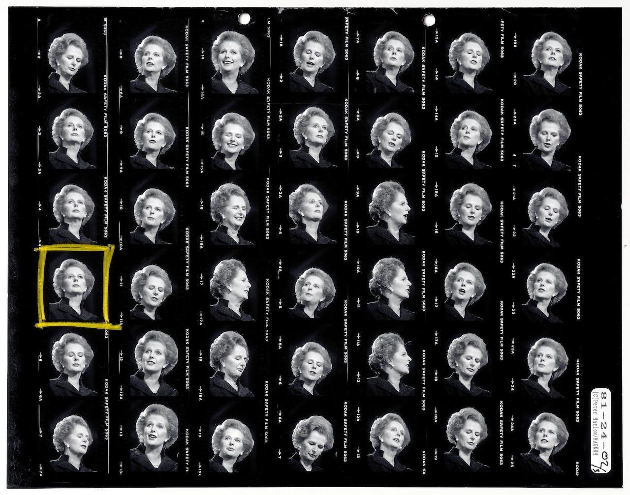 De goede foto is het juiste moment gevangen op de goede plaats. Portret van Margaret Thatcher, in 1981 gefotografeerd door Peter Parlow. Deze foto bestendigde het beeld van Thatcher als de 'Iron Lady'.