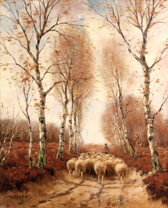 'Schaapskudde op zandpad met berken', Martinus Nefkens (1866-1941).