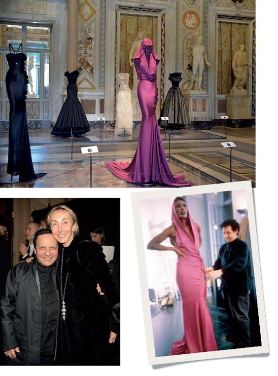 Links: Azzedine Alaïa samen met Carla Sozzani. Boven en rechts: In Villa Borghese zijn t/m 25 oktober 65 jurken van Alaïa tentoongesteld, waaronder de beroemde jurk die Grace Jones in 1977 droeg.