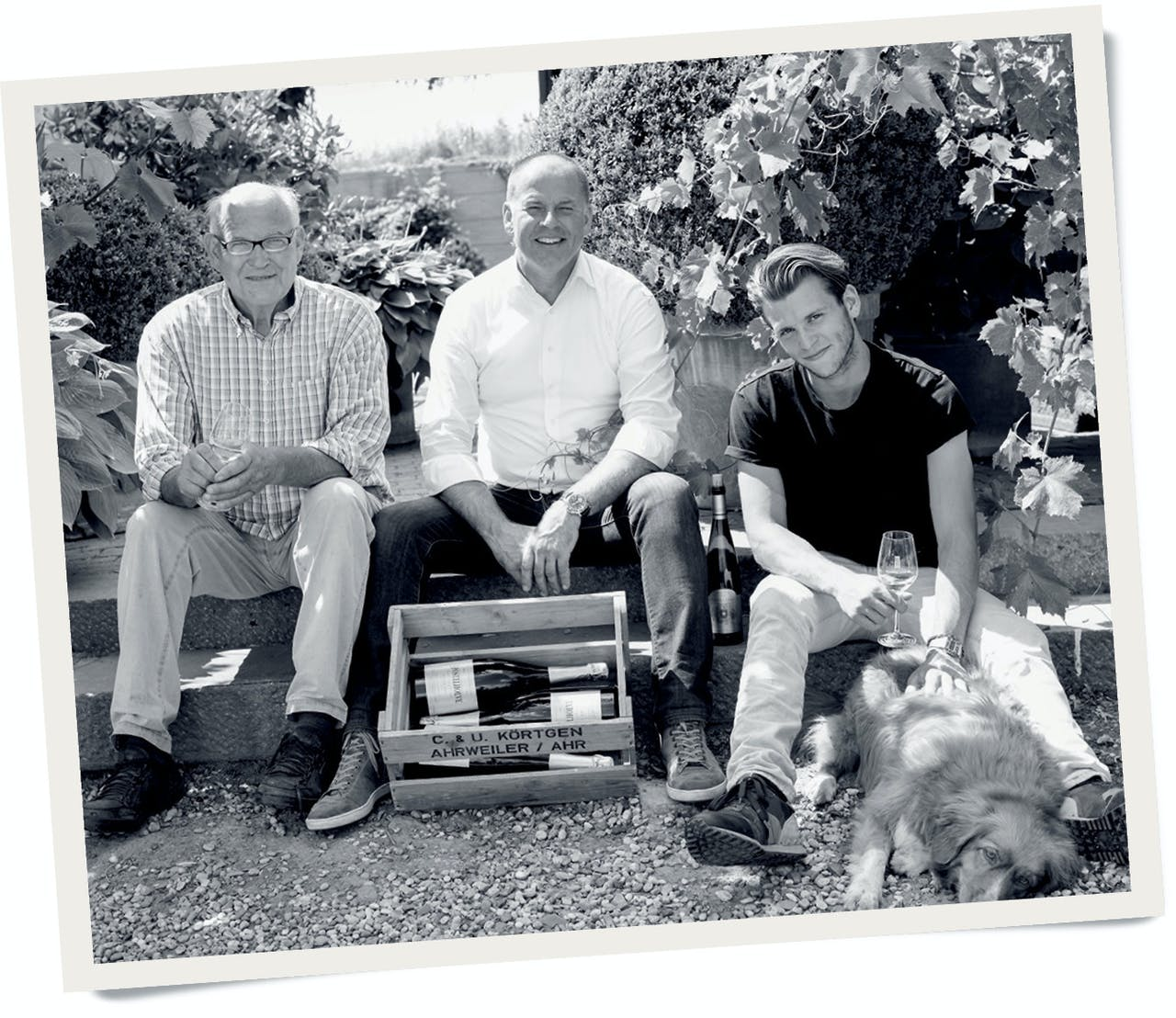 Drie generaties wijnmakers. Van links naar rechts: Hugo, Mathieu en Robin Hulst.