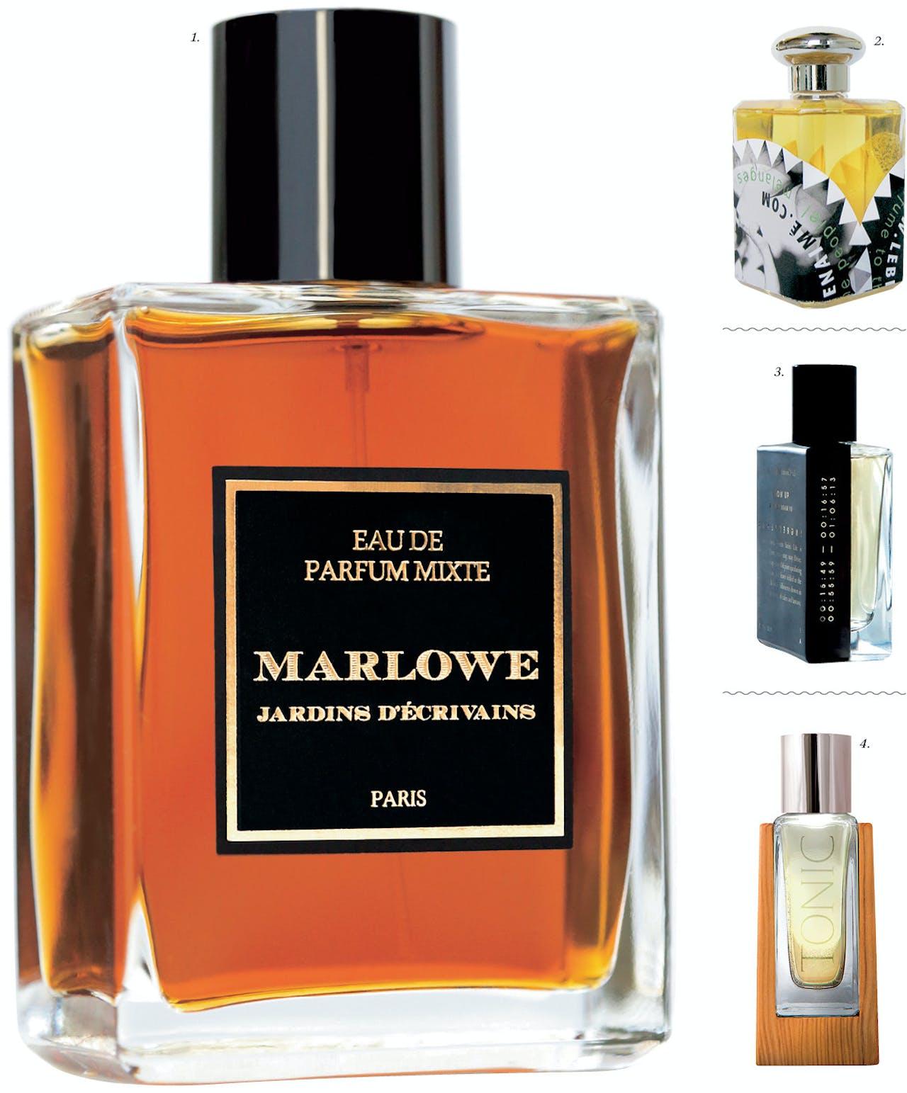 Marlowe, geïnspireerd op schrijver Christopher Marlowe, bevat noten van gedroogde bloemen, leer en muskus.