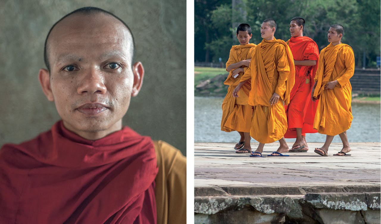 Honderden monniken zijn nog dagelijks in Angkor Wat te vinden.
