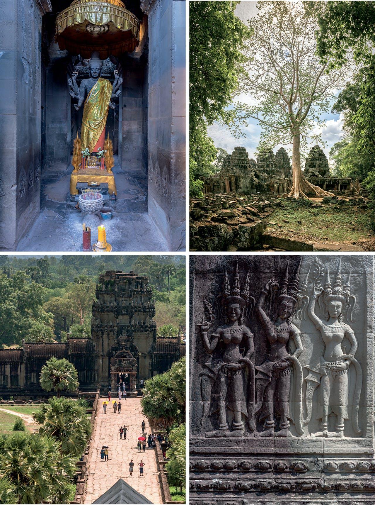 Beelden uit Angkor Wat, dat nog steeds in gebruik is als heiligdom. Rechtsonder: relief van apsara's.