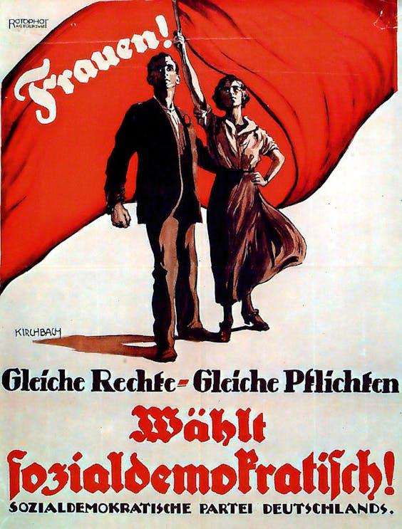 Gelijke rechten voor Duitse vrouwen, affiche van de SPD, 1919.