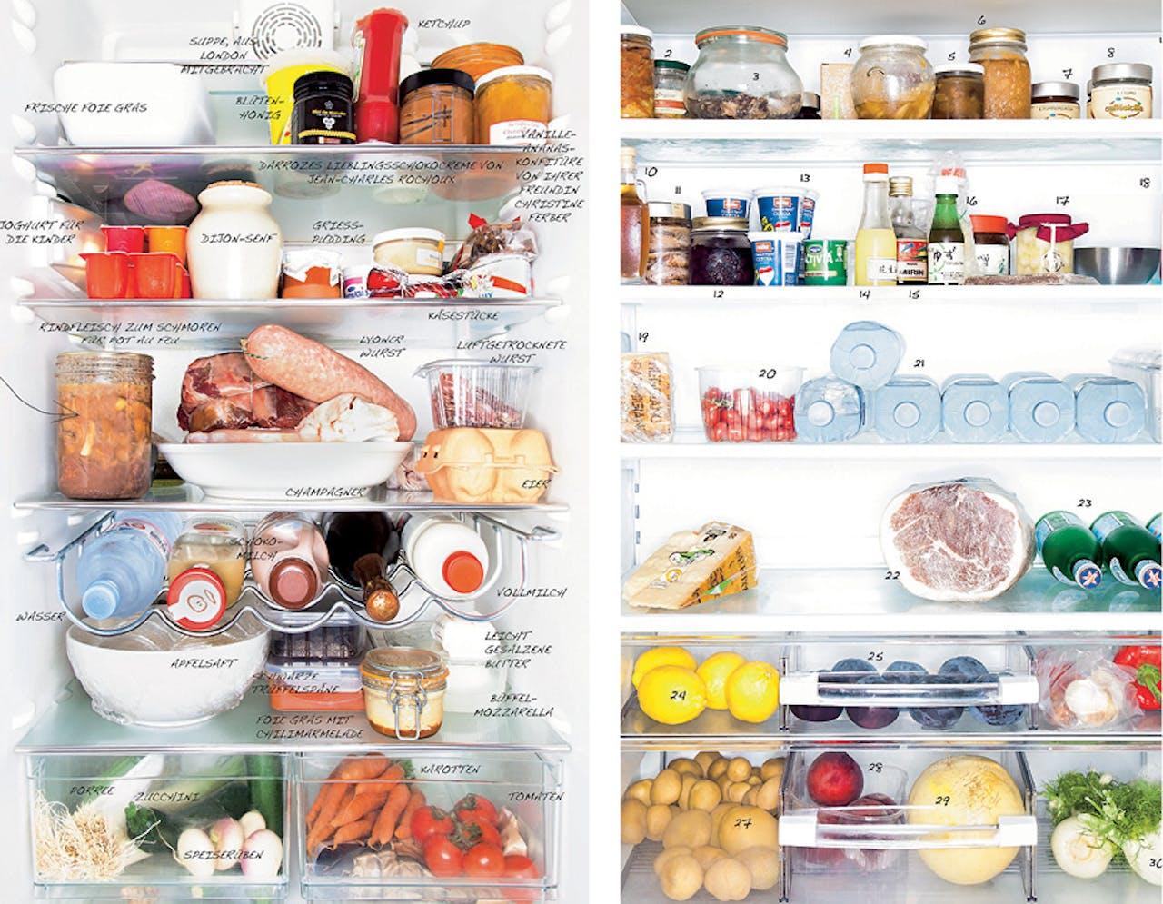 De koelkast van Hélène Darroze (links) en Massimo Bottura.