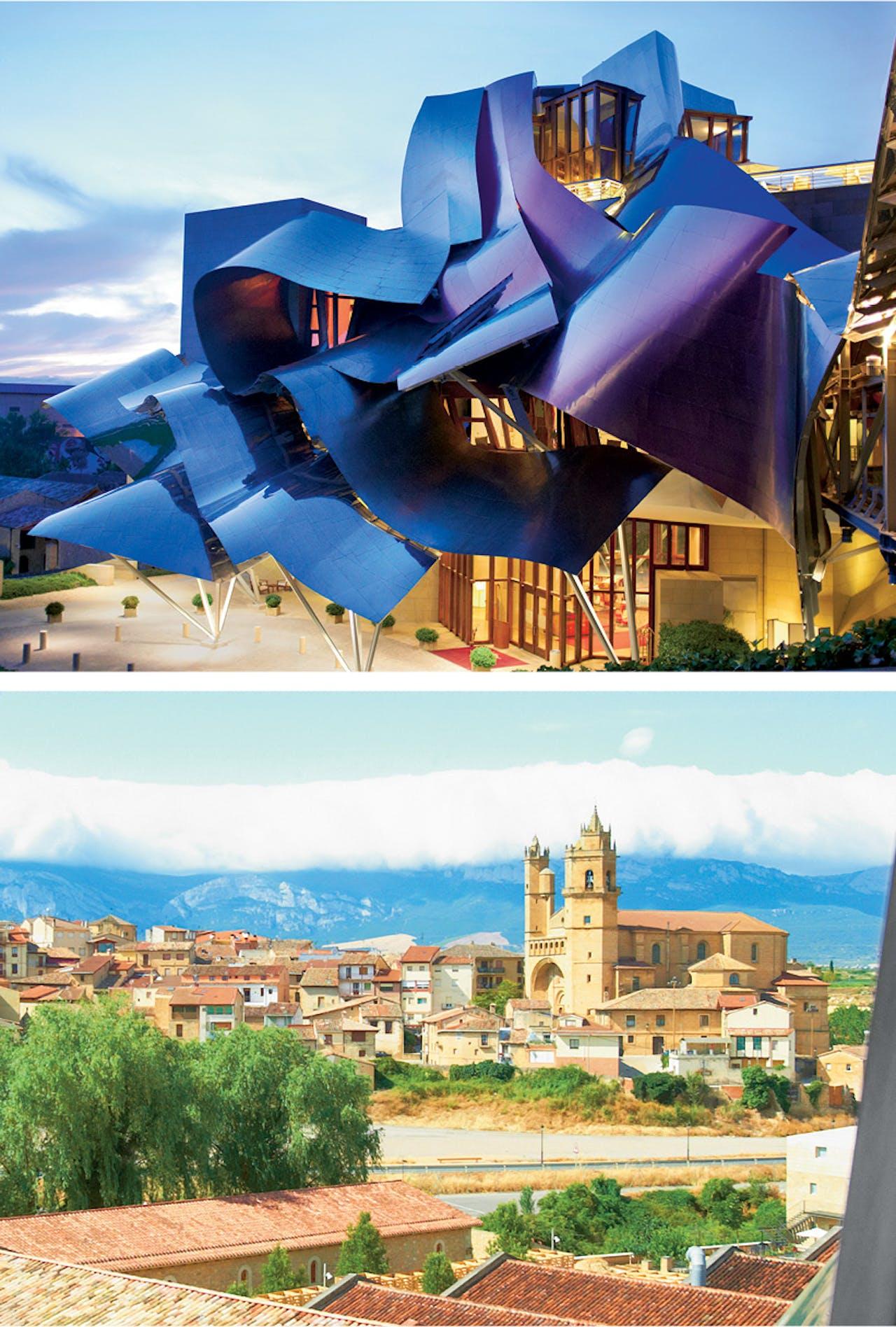 Boven: de Canadees-Amerikaanse architect Frank Gehry ontwierp het gebouw. Onder: vanaf de diverse hotelterrassen kijk je prachtig uit over het middeleeuwse stadje Elciego.