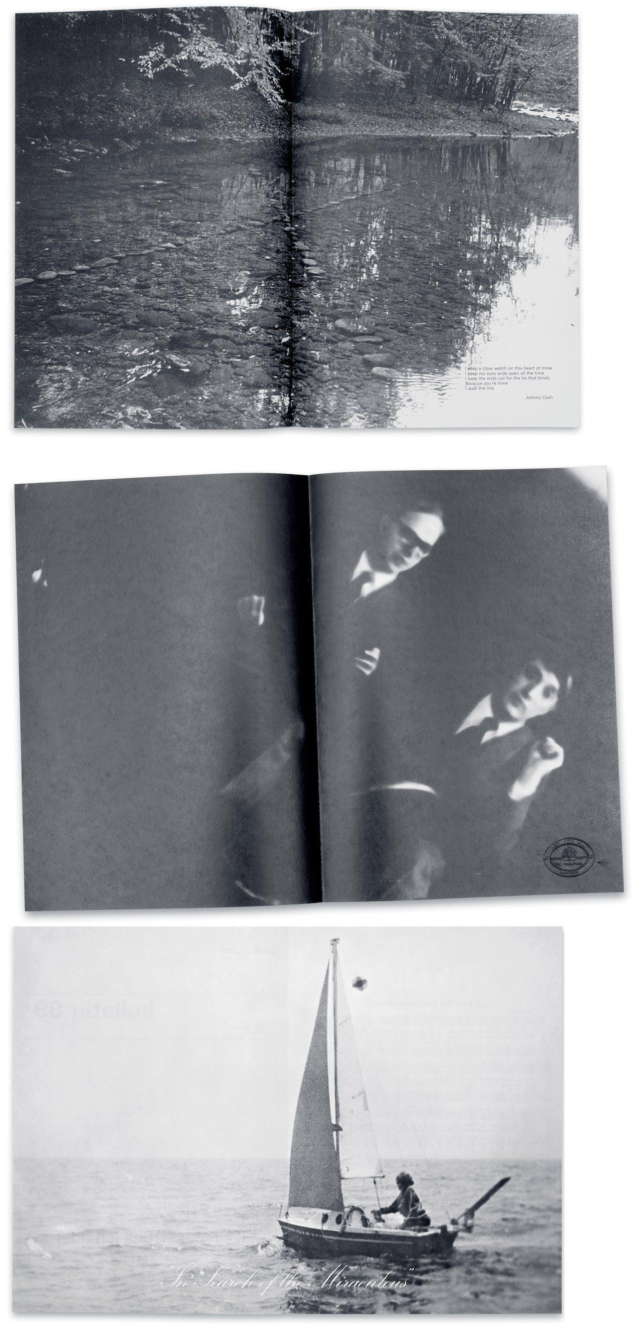 Boven: Bulletin 35 van Richard Long. In de foto staat een couplet uit de song 'I walk the line' van Johnny Cash; Midden: Gilbert & George maakten een aantal bulletins, onder meer in 1974; Onder: Bas Jan Ader zette op zijn editie uit 1975 een foto van zichzelf in een zeilboot met daarbij de tekst 'In search of the miraculous'.