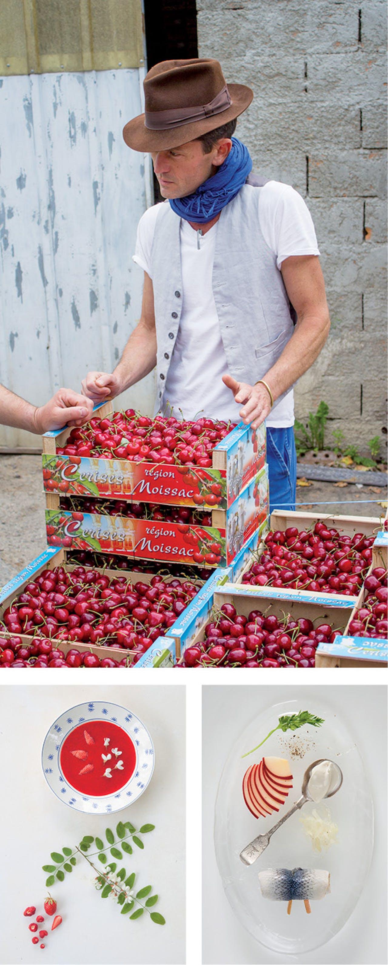 Boven: controle van het fruit. Onder: bouillon van aardbeien (l.) en haring, uit het nieuwe boek 'Nature's Larder'.