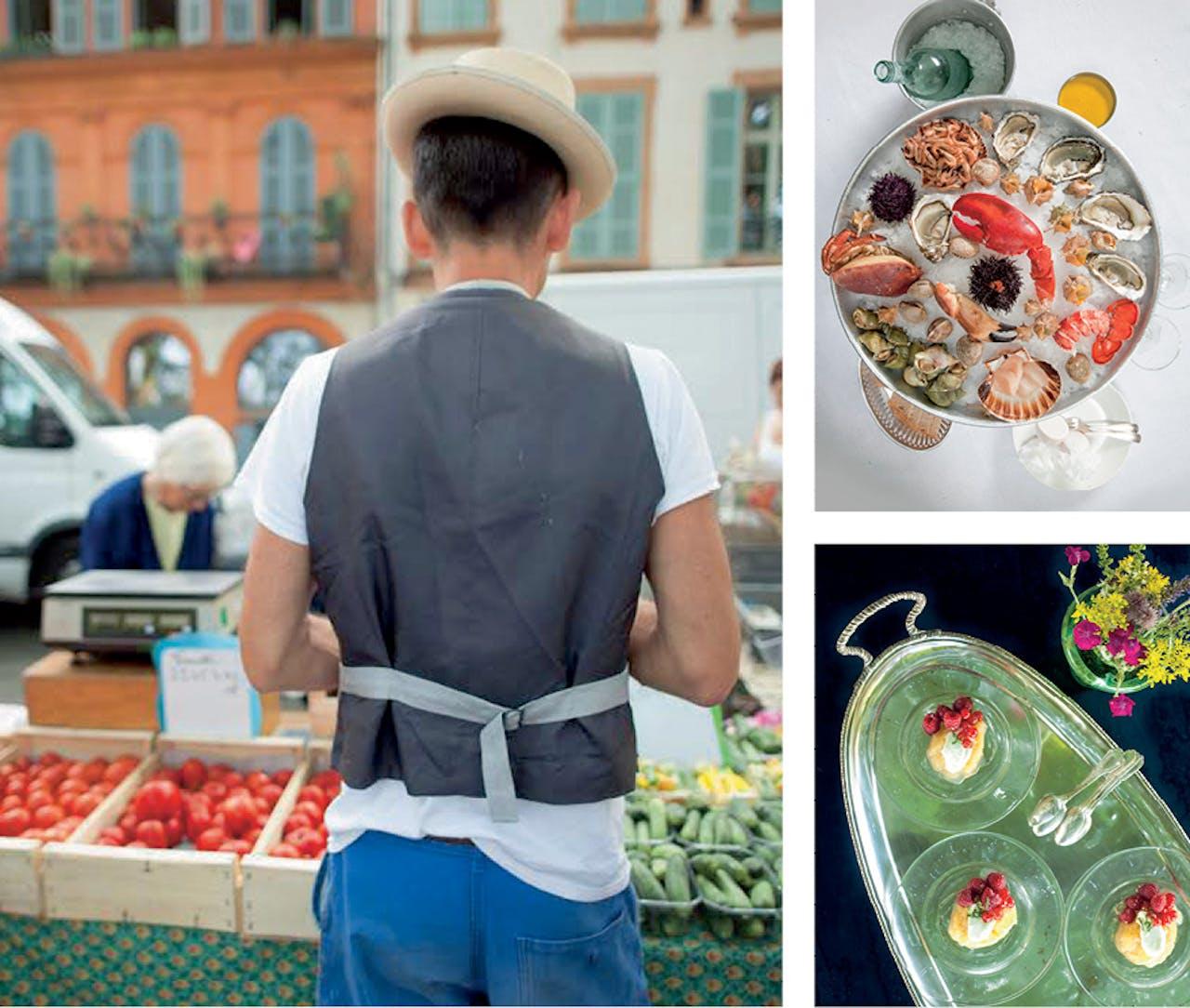Rechts: producten uitzoeken op de markt. Uiterst rechts en onder: plateau met fruits de mer en appelcompote, uit het boek 'Nature's Larder'.