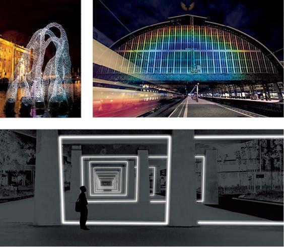 Boven: Drijvend kunstwerk 'Arborescence'. Rechts: 'Rainbow Station', Daan Roosegaarde. Onder: Een impressie van hoe 'Velocity' in Eindhoven er straks uit zal komen te zien.