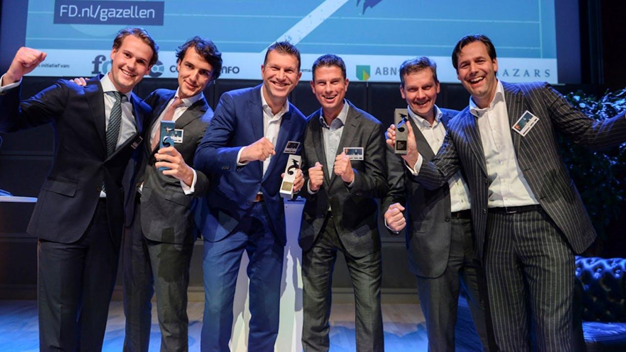 De winnaars van de Gouden Gazellen in Noord-Holland: Eleanor Wine Index, YER Talent en Abovo Media.