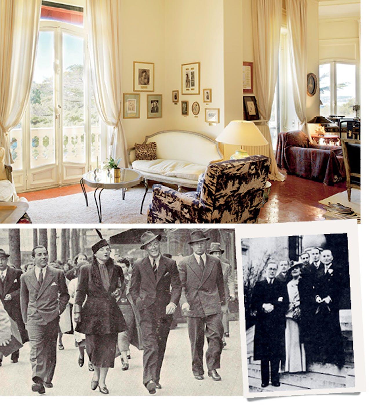 Hierboven: prinses Juliana en prins Bernhard tijdens hun huwelijkreis in Parijs, 1936. De prins is ook aanwezig tijdens het huwelijk van 'tante' Allene met haar vijfde echtgenoot, de Russische graaf Paul de Kotzebue in Genève, Zwitserland (rechts).