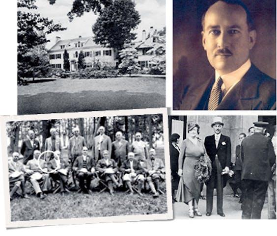 Boven: Birchwood Estate op Long Island, NY, eigendom van Allenes derde echtgenoot, Anson Wood Burchard, topman van General Electric (omcirkeld) en Allene's grote liefde. Rechts prins Heinrich XXXIII Reuss von Köstritz, Allenes vierde echtgenoot en echtgenoot nummer vijf (onder) in 1938 voor het George V-hotel in Parijs.