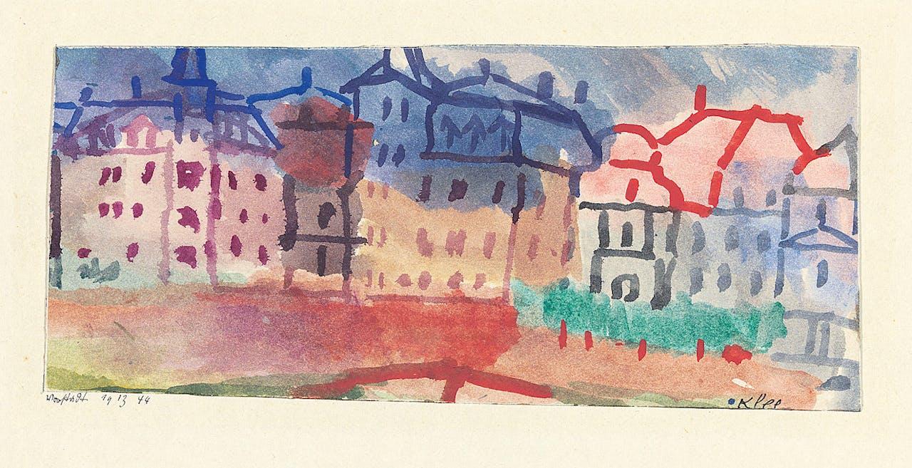Boven: Kandinsky schildert in 1908 de huizen van Murnau. Klee (zie 'Vorstadt' uit 1913, rechts) blijft nog lang een tekenaar.