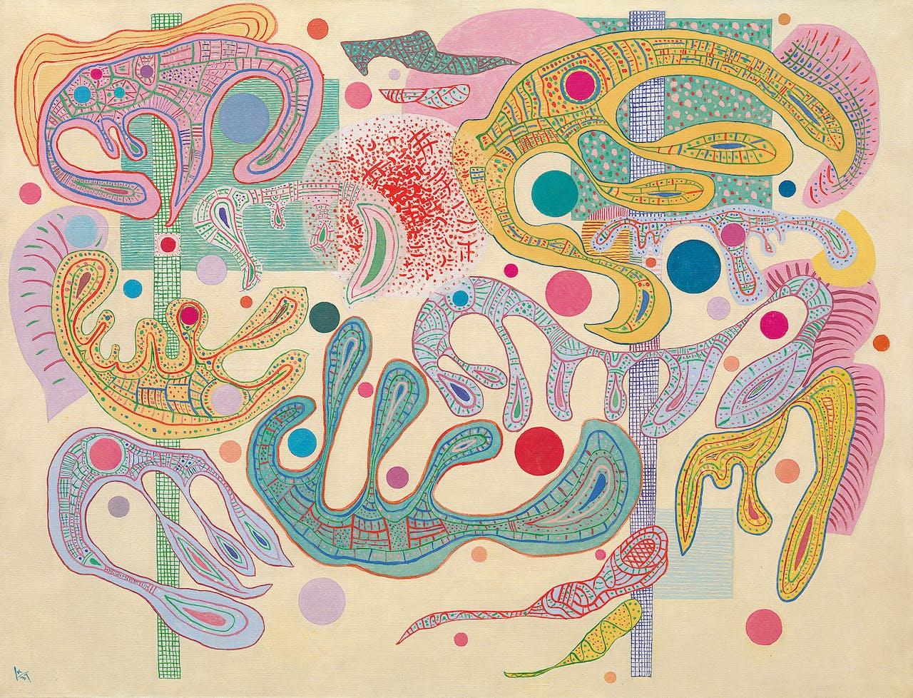 'Formes capricieuses' van Kandinsky (1937), uit de tijd van zijn ballingschap in Parijs.