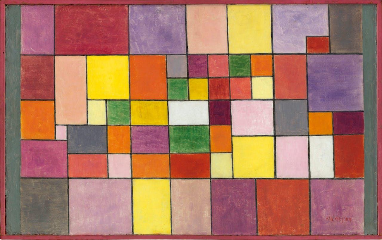 Klee: 'Harmonie der nördlichen Flora' (1927). Een tijdlang waren veel Bauhaus-kunstenaars met vierkanten bezig, onder invloed van Mondriaan en De Stijl. Criticus Paul Westheim verzuchtte: 'Na drie dagen in Weimar hoop je nooit van je leven meer een vierkant te zien.'