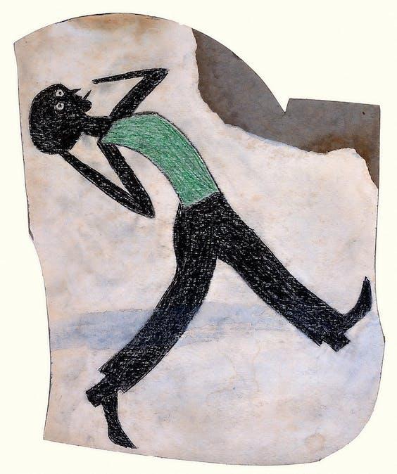 Bill Traylor: 'Gebogen rokende man' (ca. 1939-1942), te zien in Essen. De Amerikaan Traylor (1859-1942) werd in slavernij geboren. Op zijn 85ste begon hij zijn herinneringen te tekenen. In de drie jaar voor zijn dood maakte hij 1500 werken.