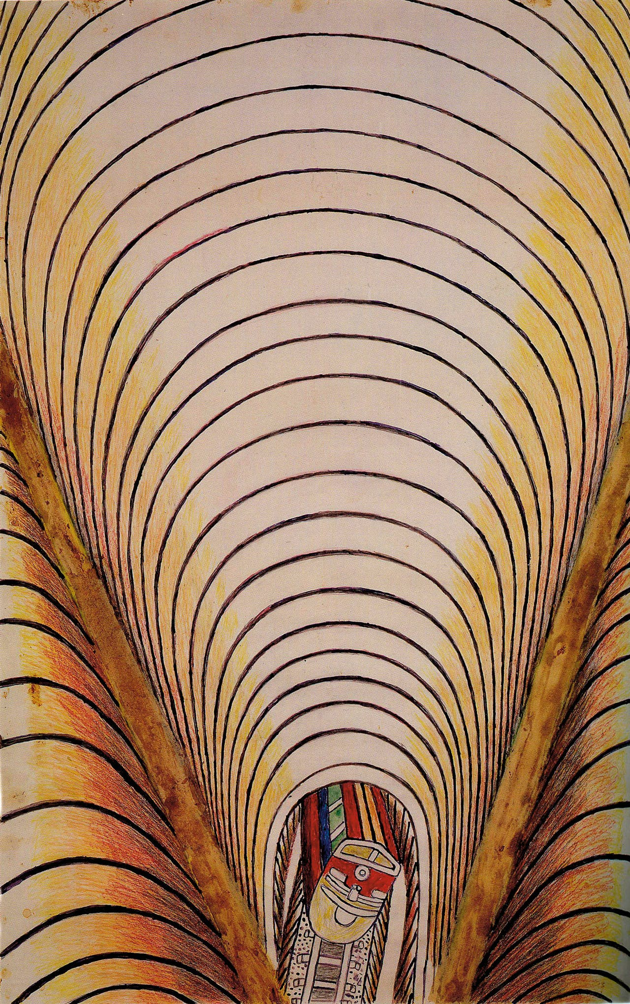 Martín Ramírez: 'Zonder titel (trein en tunnel)' uit 1954. Te zien in Essen.