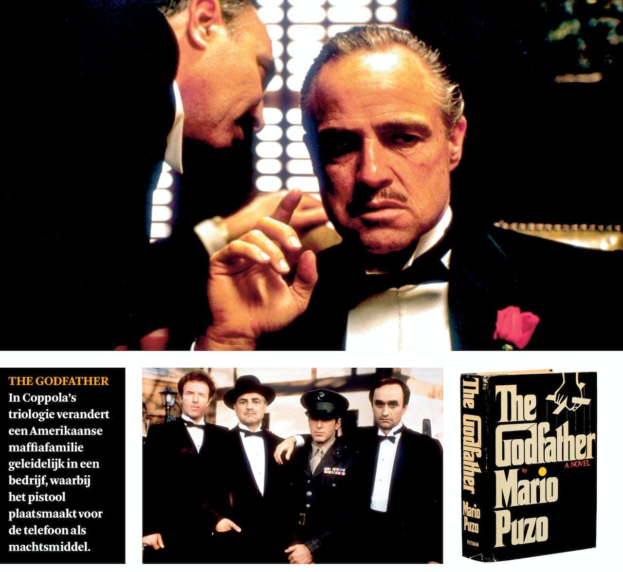 Marlon Brando als peetvader Don Vito Corleone, samen met zijn zoons Sonny, Michael en Fredo (onder).