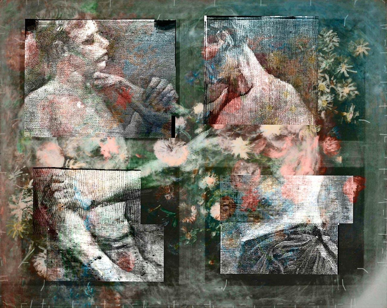 Van Gogh hergebruikte zijn doeken vaak. Voordat hij het boeket over de worstelaars schilderde, kantelde hij het doek een kwartslag.