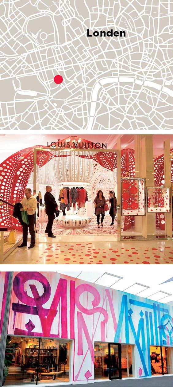 Boven: een kunstwerk van Gilbert & George siert de mannenafdeling in de Louis Vuitton-winkel in New Bond Street, Londen; midden: louis Vuitton werkte in 2012 samen met Yayoi Kusama. In datzelfde jaar mocht Marquis Lewis de winkel in Miami 'bekladden' met grafitti.