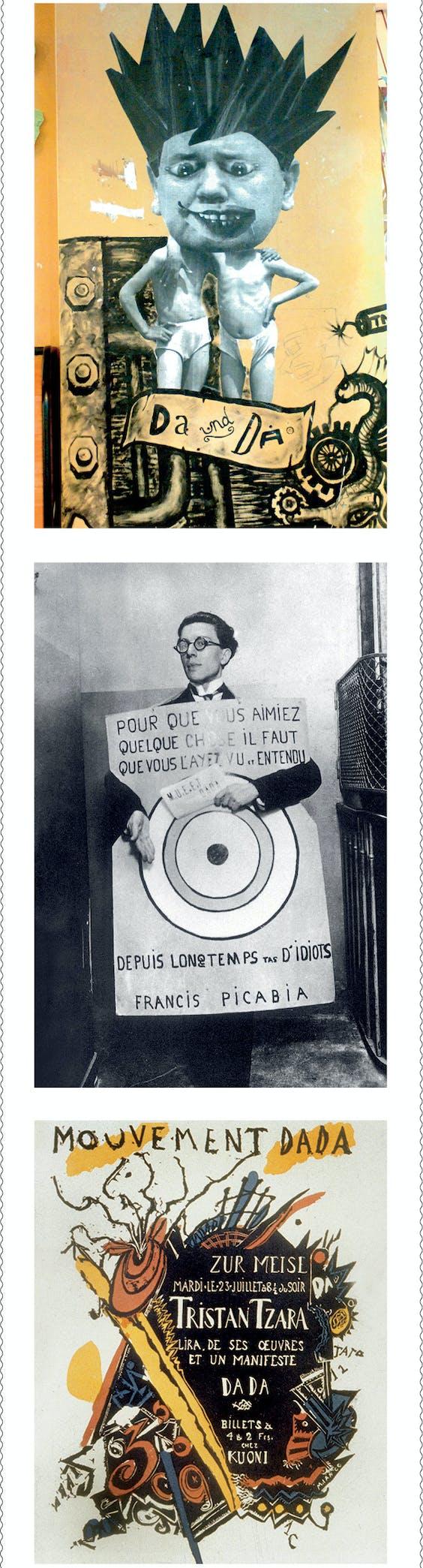 Boven: muurschildering in Zürich bij Café Voltaire. Midden: André Breton op het Festival Dada in 1920 in Parijs. Onder: poster (ontwerp Marcel Janco) voor een dada-avond in Zürich in 1918.