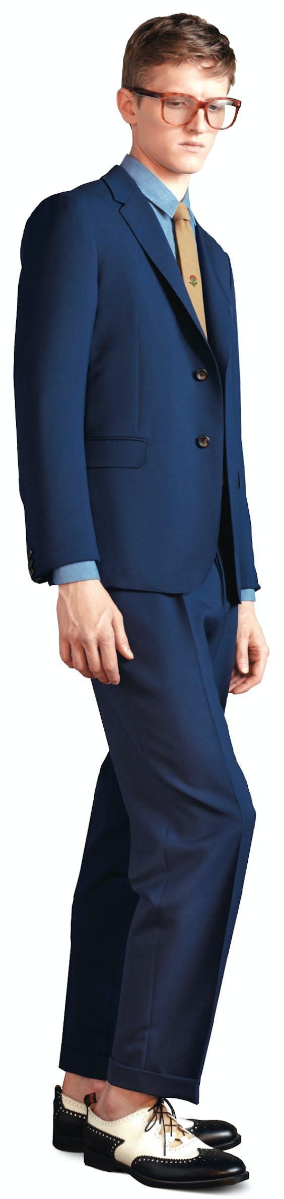 Dot Print Selvage Monaco Suit.