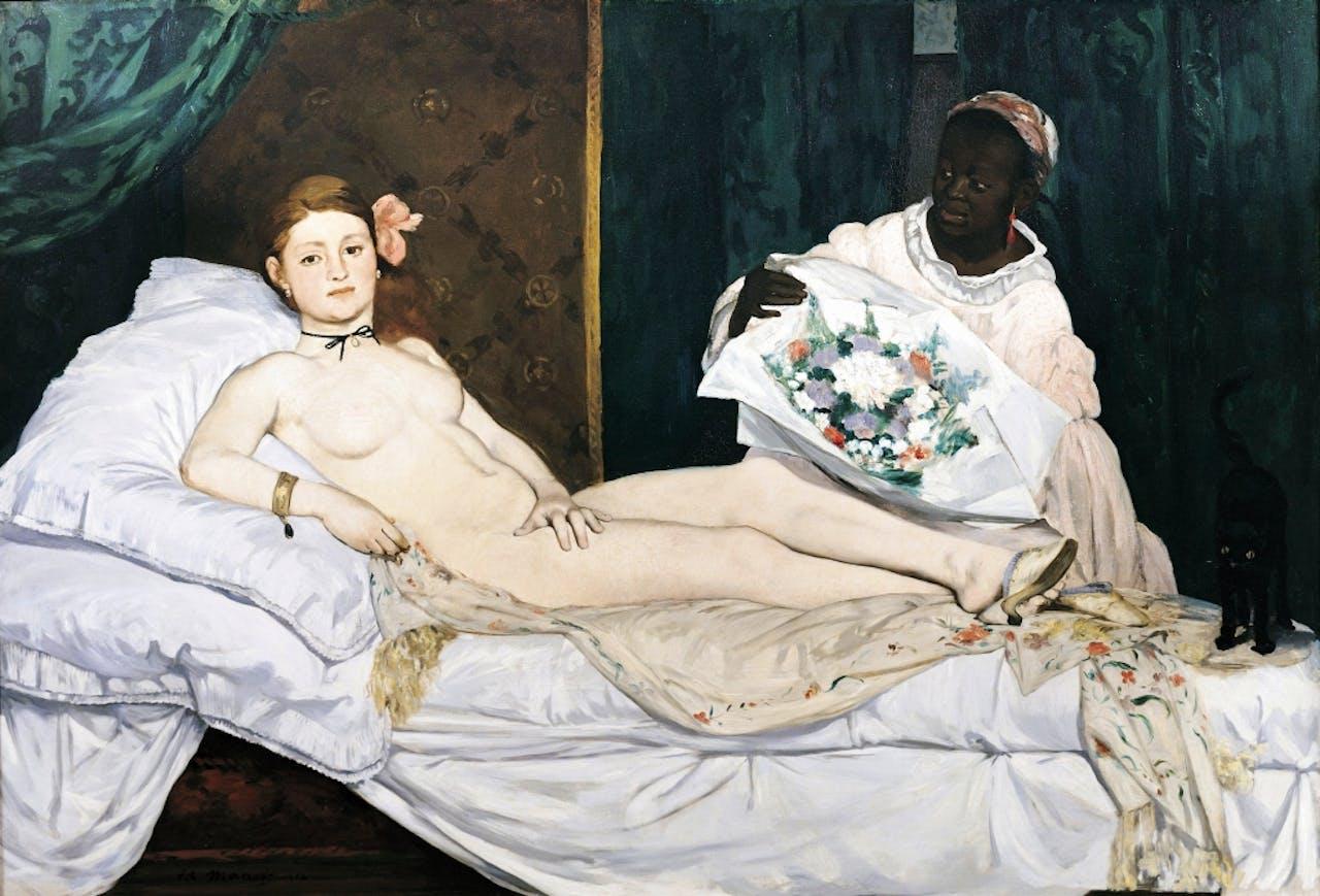 De onbeschaamde courtisane 'Olympia' van Manet zorgde in 1863 voor een schandaal. Émile Zola, schrijver van Nana, vond het een meesterwerk. (Corbis)