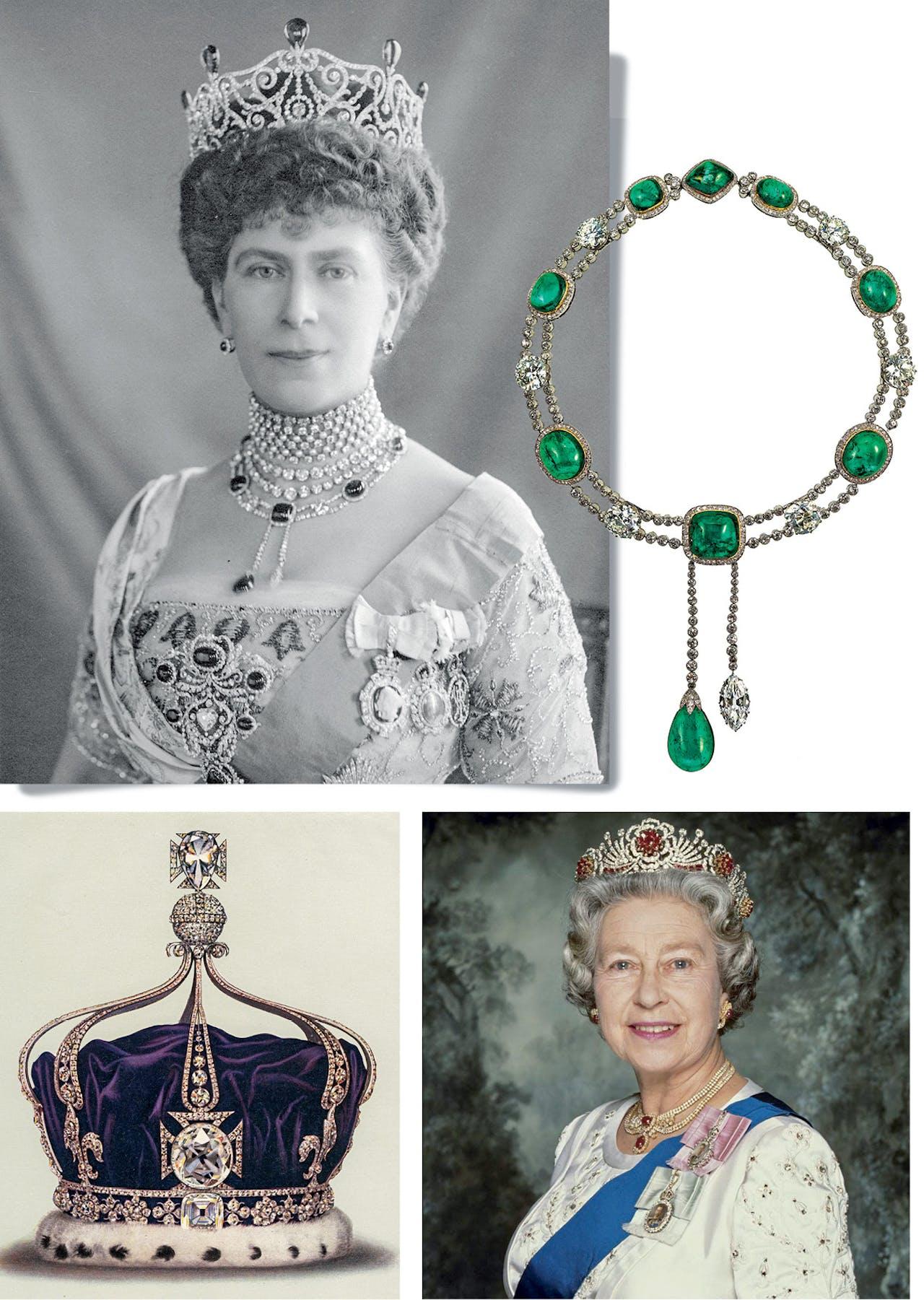 Boven: Queen Mary met de Delhi Durbar Parure. Onder rechts: Queen Elizabeth II met de Burmese Ruby Tiara; links: de kroon met de Koh-i-Noor-diamant.