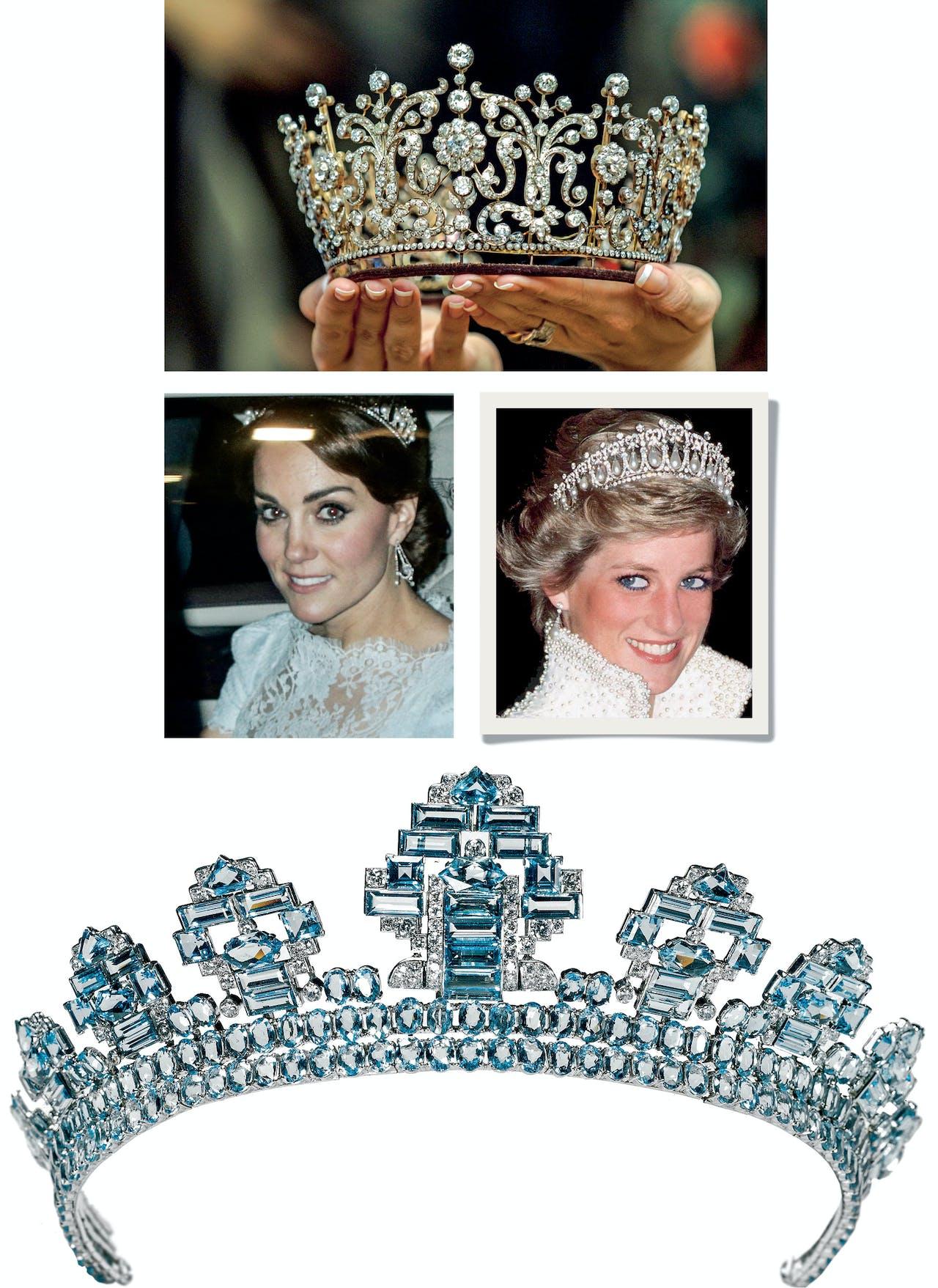 Helemaal boven: de Poltimore Tiara van Margaret, linksboven en rechts: Kate droeg de Lover's Knot Tiara afgelopen december. Onder: een tiara uit 1937, gemaakt in opdracht van King George VI.