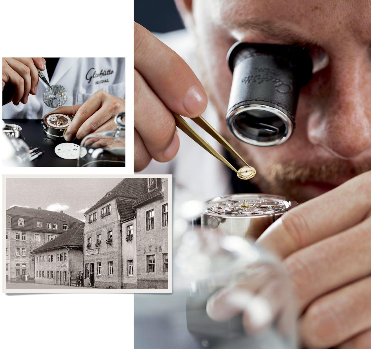 Hierboven: het oude pand van A. Lange & Söhne. Uiterst boven en rechts: een uurwerk maken is precisiewerk.