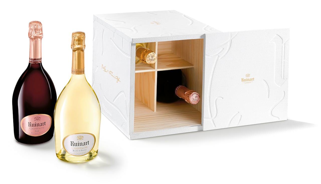 Kistje 4 flessen Ruinart Blanc de Blancs of Rosé, €295