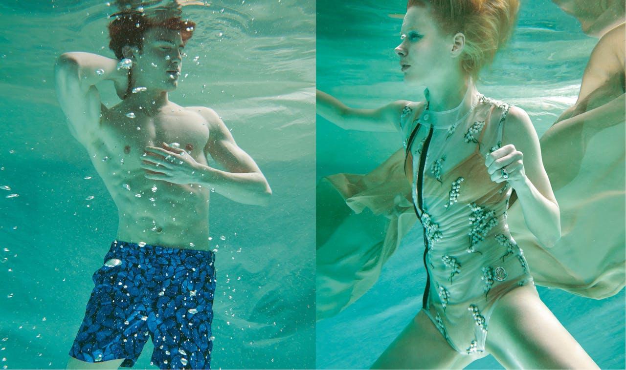Man: zwembroek met vlinderprint, €245, Orlebar Brown. Vrouw: geborduurd badpak, prijs op aanvraag, Moncler; daaronder: gouden lurex bikini, €245, Melissa Odabash; zilveren ring, €75, Calvin Klein.