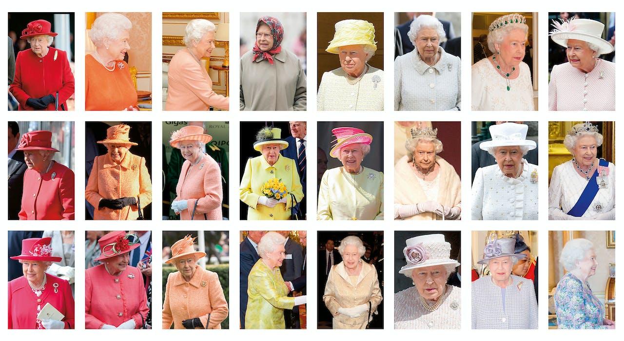 Queen Elizabeth heeft een voorkeur voor felle kleuren en outfits in één kleur.