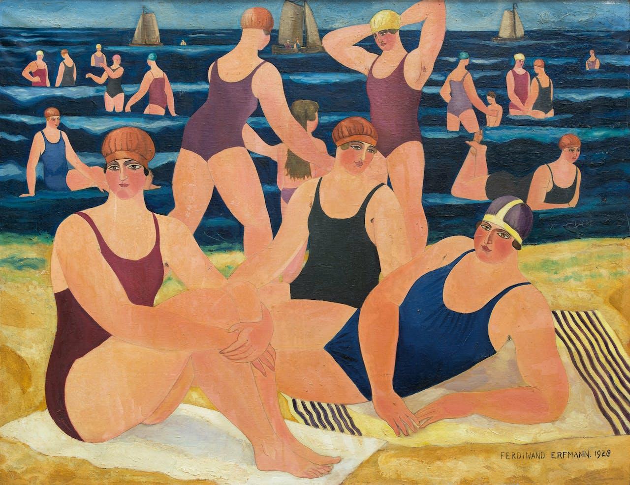 'Strandscène', Ferdinand Erfmann,1928.