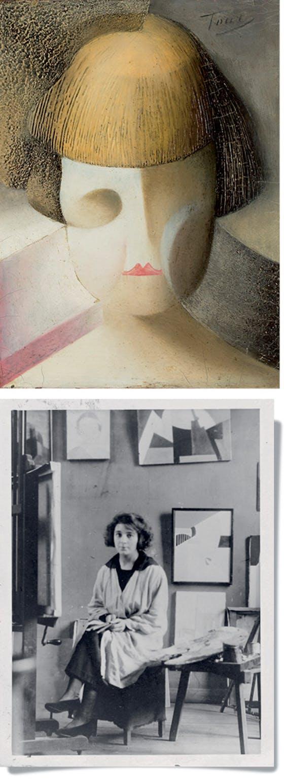 Boven: 'Abstracte compositie 6', 1920; Midden: Kinderhoofd, 1918-19; Onder: Donas tussen eigen werk in haar atelier, Rue du Départ 26, Parijs, 1920.