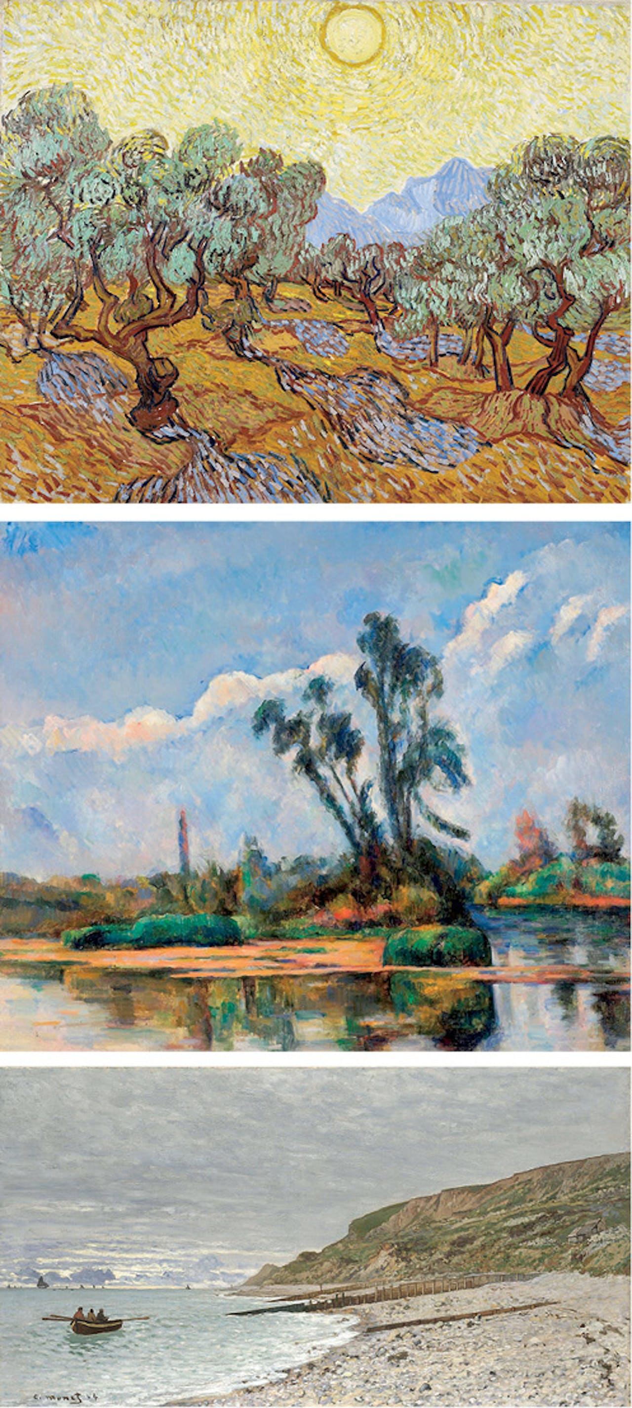 Boven: Vincent van Gogh Olijfbomen,1889; Midden: Paul Cézanne Rivierlandschap, ca. 1881; Onder: Claude Monet La Pointe de la Hève, Sainte-Adresse, 1864.