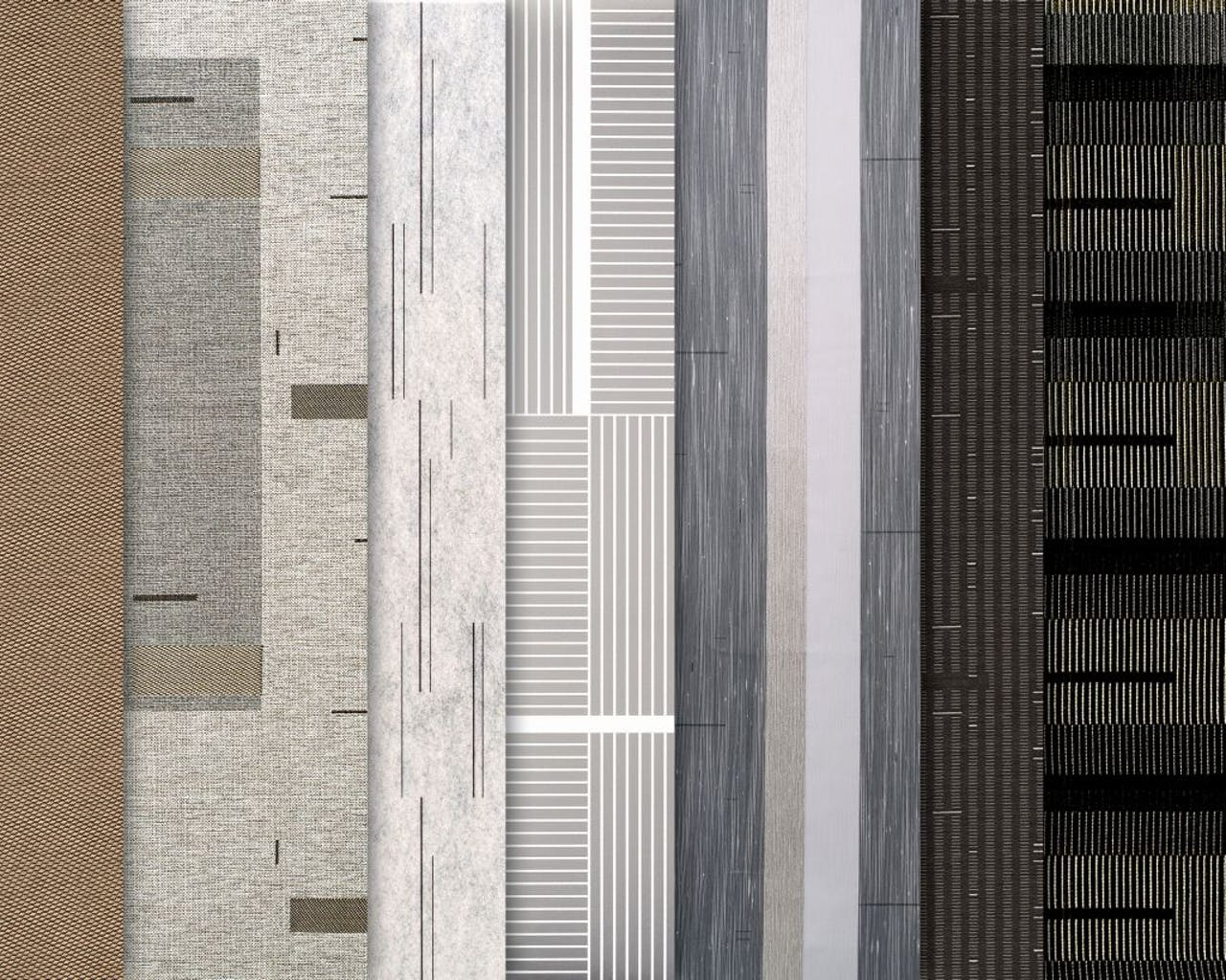 De meubel-stoffen, gordijnen en wall coverings die Engelgeer voor stoffenmerk Wolf Gordon ontwierp.