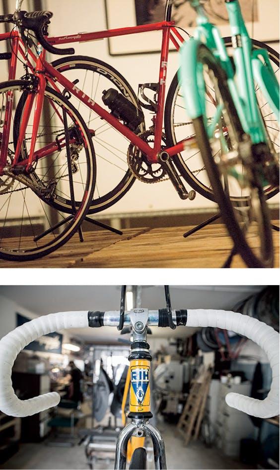 Boven: Fiets van Elian Cycles. Elian Veltman maakt ook fietsen op maat. Onder: RIH-fietsen. Diederik Martens zetelt met RIH in een loods in Amsterdam-Noord.