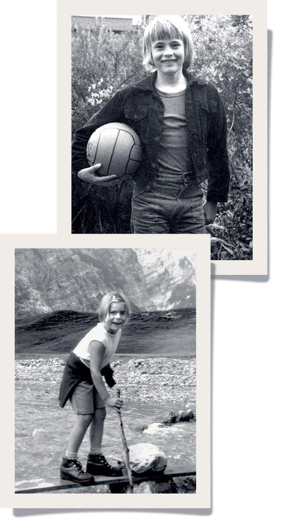Boven: Jeroen Smit als kind, onder Laurentien van Oranje in haar jonge jaren.