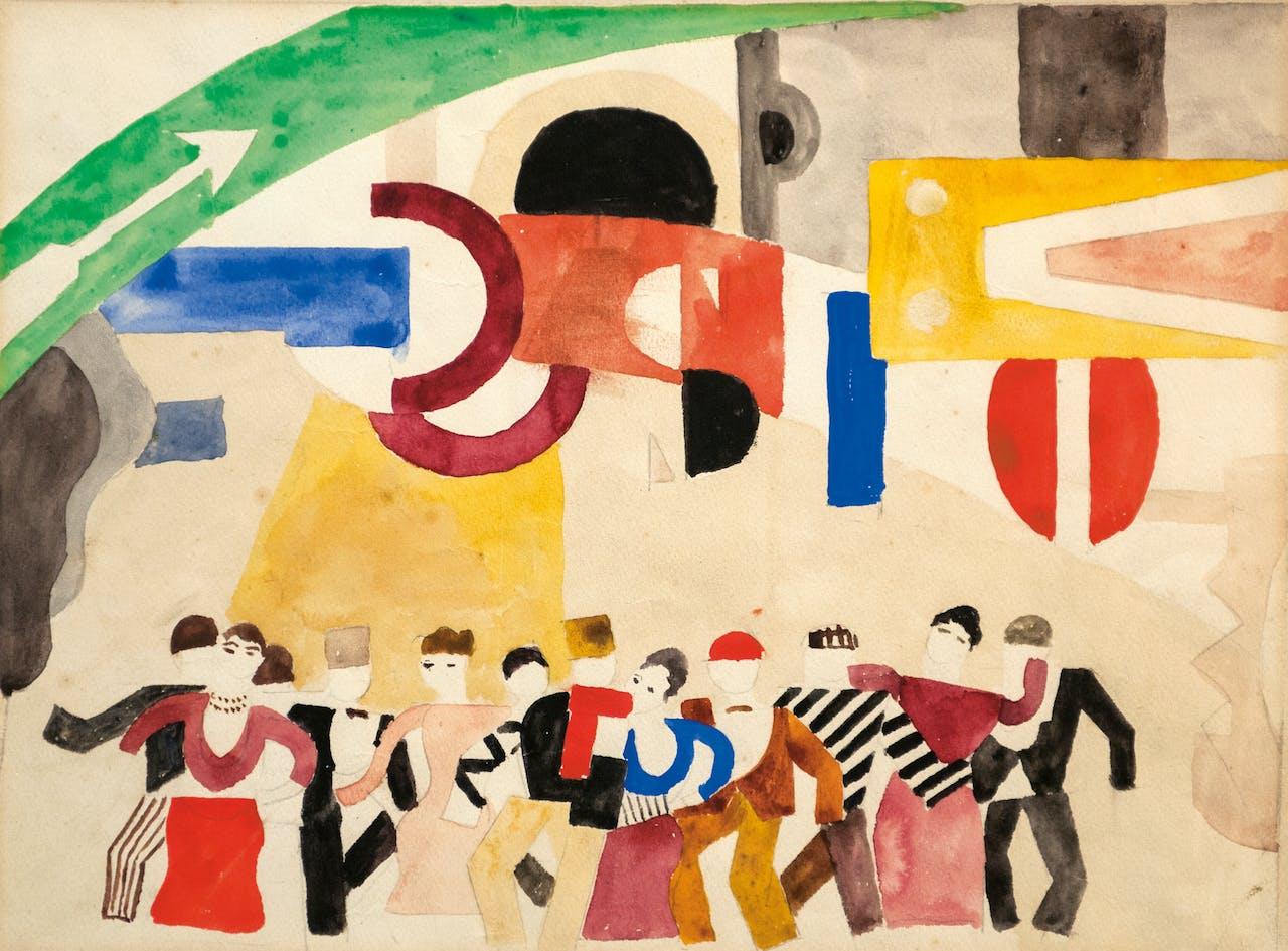 Légers ontwerp voor de 'Schaatsbaan' van de Ballets Suédois uit 1921. Het legendarische gezelschap combineerde allerlei kunstvormen.