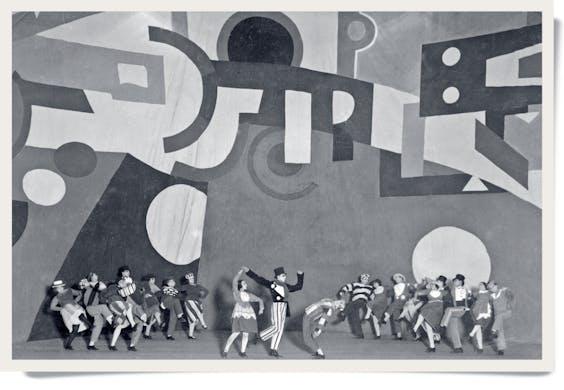 Optreden van de Ballets Suédois (Zweedse balletten) in 1922 met kostuums en decor van Fernand Léger.