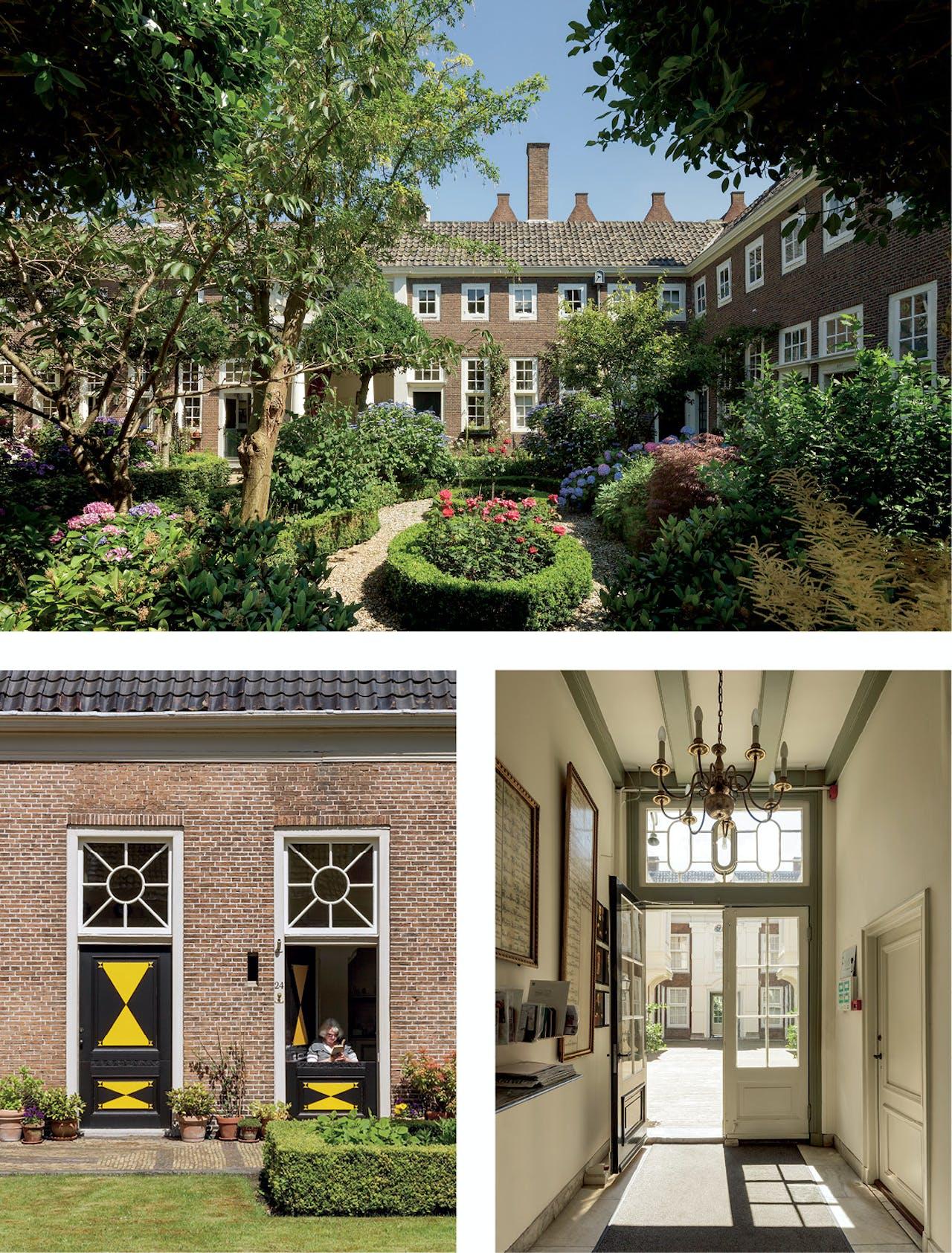 Boven: tuin van het Deutzenhofje in Amsterdam (1694); onder links: voordeuren van het Hofje van Staats in Haarlem (1733); rechts: hal van het Van Brants Rushofje in Amsterdam (1734).