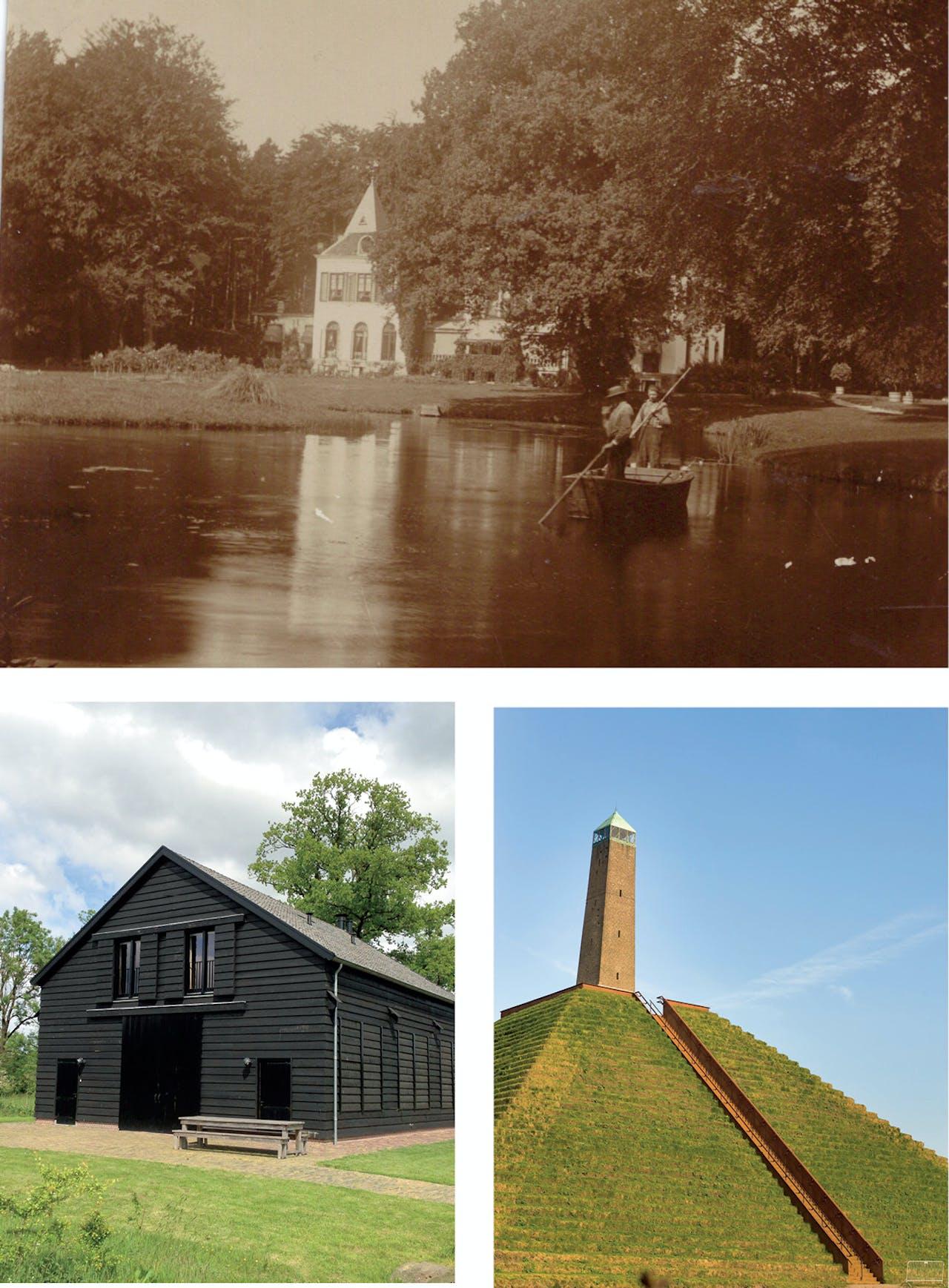 Boven: een oude foto met op de achtergrond Huis Den Treek. Linksonder: de Hopschuur. Onder: de Pyramide van Austerlitz. De obelisk werd in 1804 in 27 dagen gebouwd.