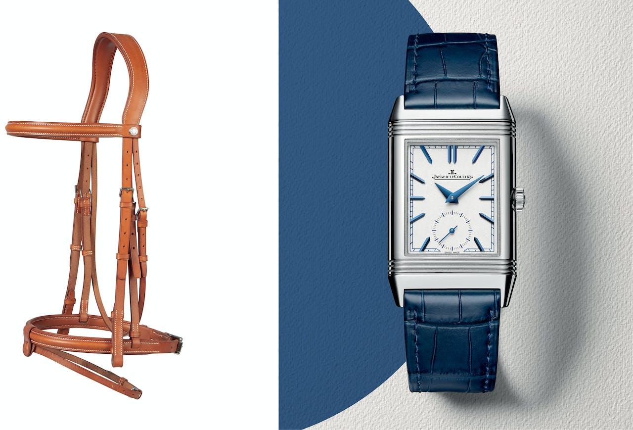 Links: Dressuurhoofdstel in teugelleer met grote neusriem en borduursel in zadelsteek, €990. Rechts:Om het 85-jarige jubileum van de Reverso te vieren werd een nieuw mannenmodel ontwikkeld: de Tribute Duo Face, €11.500.
