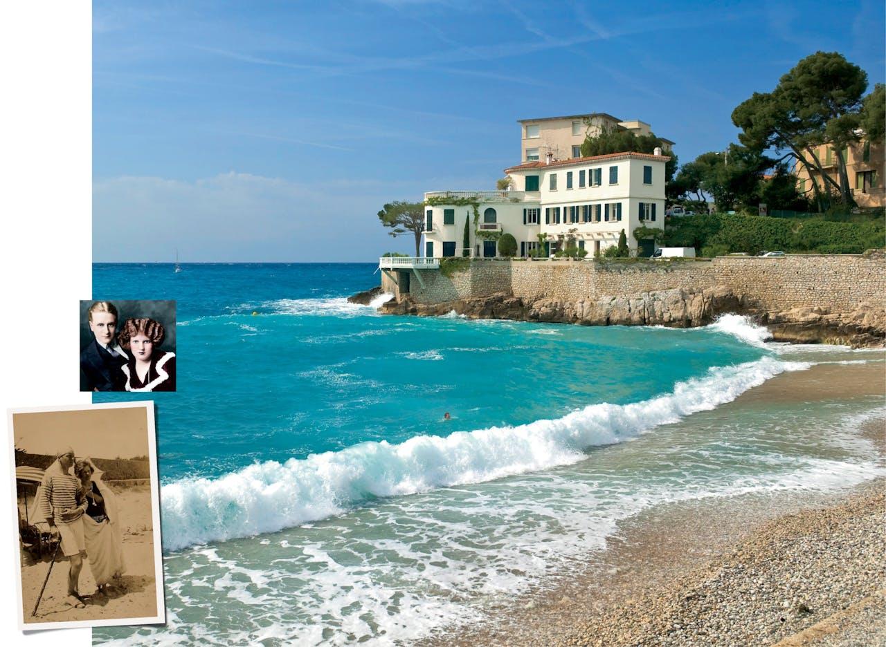 De Amerikaanse schrijver F. Scott Fitzgerald en zijn vrouw Zelda (rechts) waren graag te gast bij Gerald en Sara Murphy (onder) in Zuid-Frankrijk.