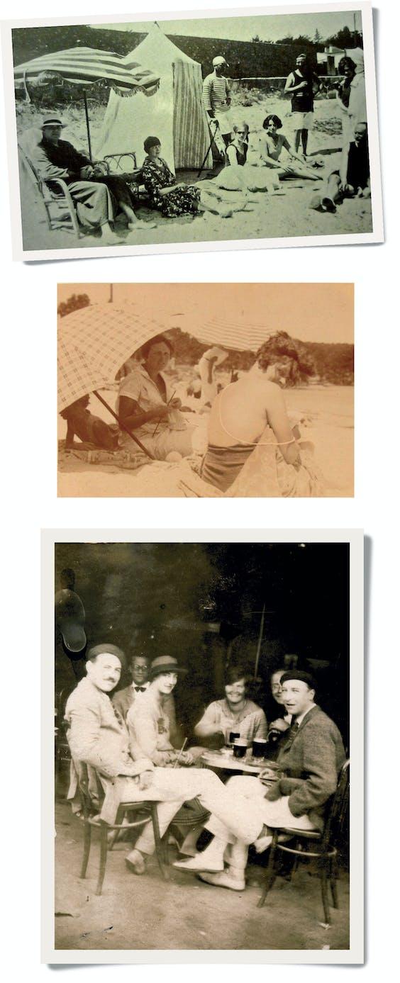 De Murphy's, Gerald in zijn gestreepte tenue (foto boven) en Sara met parelketting (midden), houden salon op het strand met parasol en verkleedtent, te midden van vrienden en kennissen. Ernest Hemingways (links) 'verplaatsbare feest' trok in de zomer van Parijs naar het zuiden (onder).